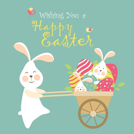 Easter bunnies and easter eggs. Vector illustration Stock Illustratie