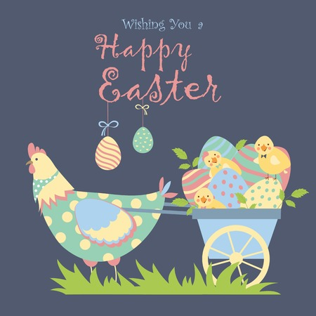 funny easter: Easter chicken with easter eggs. Vector illustration