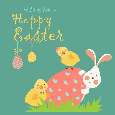 osterhase: Osterhasen, Huhn und Osterei. Vektor-Illustration Illustration