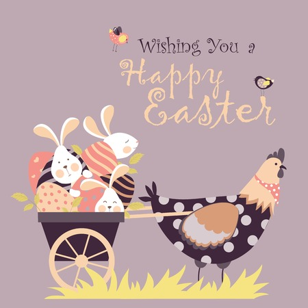 Easter bunnies,chicken and easter eggs. Vector illustration Çizim