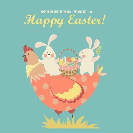 イースターのウサギ、鶏、イースターの卵。ベクトル図