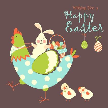 pollo caricatura: Conejo de Pascua, el pollo y los huevos de Pascua. Ilustraci�n vectorial