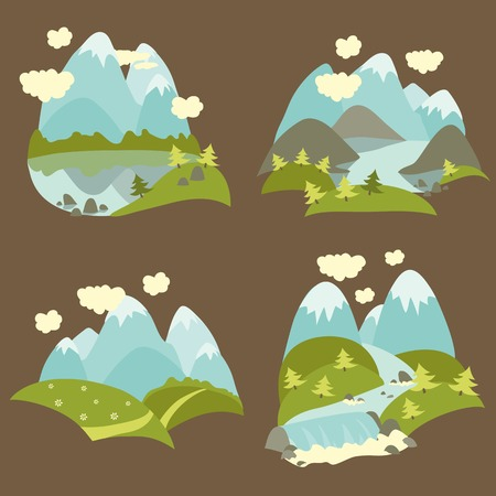 mountaineering: Set of vector flat style mountain landscape