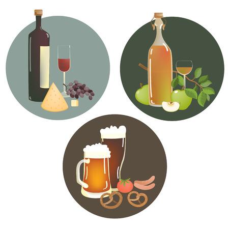 cerveza negra: Conjunto de bebidas alcohólicas y aperitivos. Ilustración vectorial