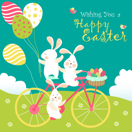 Easter bunnies and easter eggs. Vector illustration Vettoriali