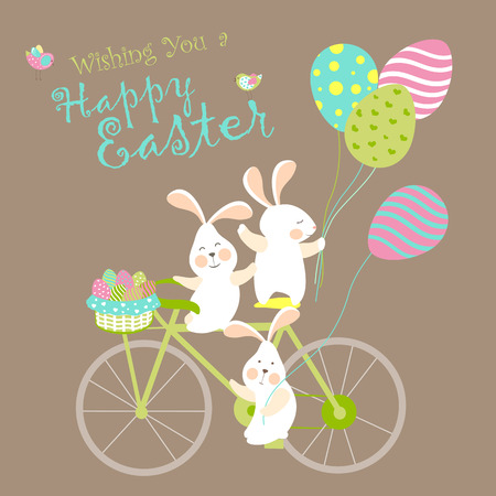 Easter bunnies and easter eggs. Vector illustration Çizim