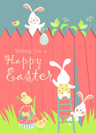 Easter bunnies and easter eggs. Vector illustration  イラスト・ベクター素材