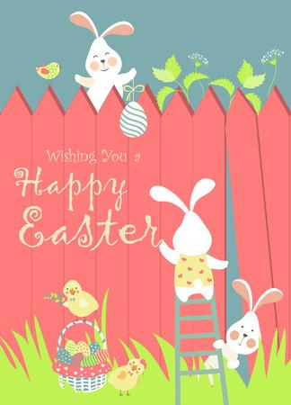 Conejitos de Pascua y huevos de Pascua. Ilustración vectorial Foto de archivo - 37612777