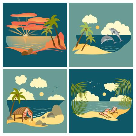 sea landscape: Set of vector flat style sea landscape Illustration