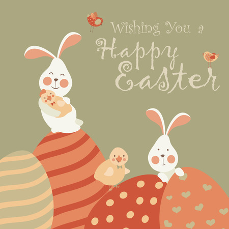 invited: Easter bunnies and easter eggs. Vector illustration Illustration