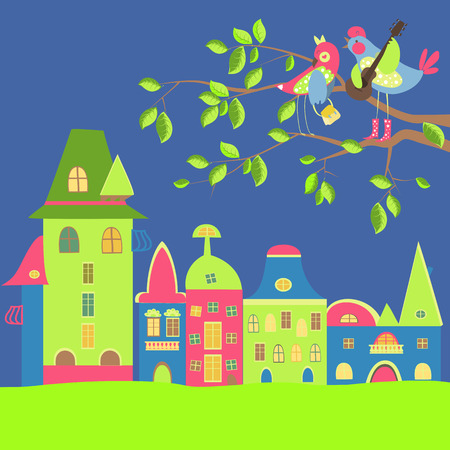 sweet grass: Spring cityscape with birds in love. Vector illustration Illustration
