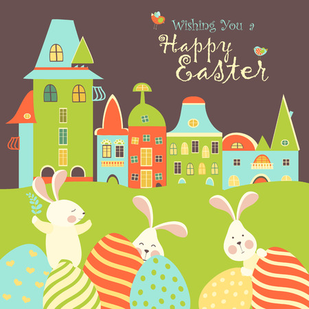 Easter bunnies and easter eggs. Vector illustration Vector