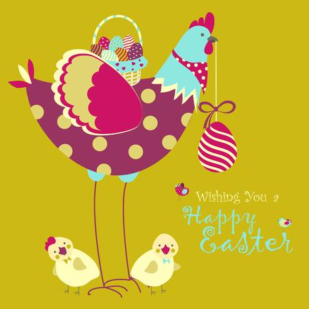 Ostern Huhn mit Ostereiern. Vektor-Illustration Standard-Bild - 37753488