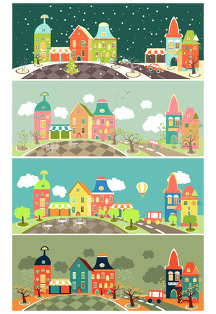 town square: Urban landscape of four seasons. Vector illustration Illustration