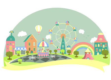 Amusement park in flat style. Vector illustration  イラスト・ベクター素材