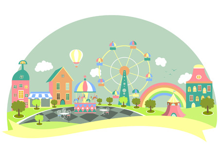 Amusement park in flat style. Vector illustration Иллюстрация