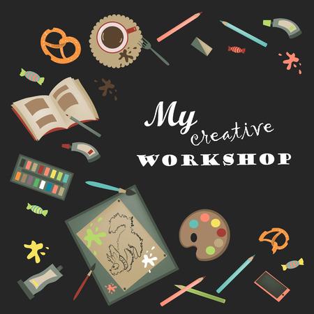 creative tools: Strumenti creativi impostati per artista. Illustrazione vettoriale. Vettoriali