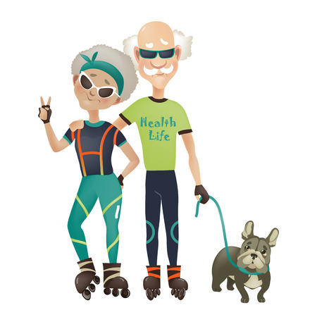 Cartoon active old couple, man and woman doing sport. Vector illustration