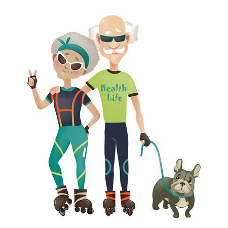Cartoon aktivní starý pár, muž a žena dělá sport. Vektorové ilustrace Ilustrace