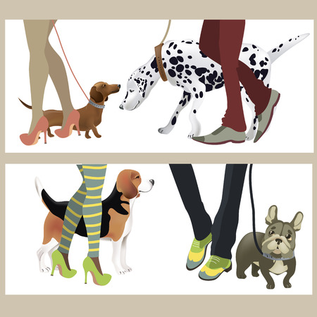 short haired: Cute dogs with their owners. Vector illustration