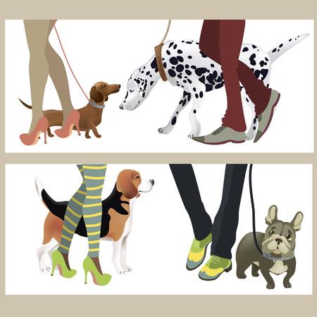 Leuke honden met hun baasjes. Vector illustratie