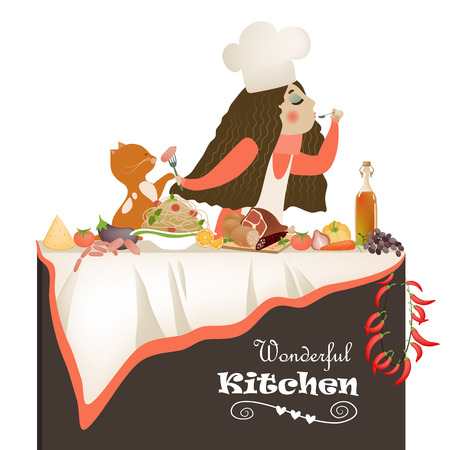 homemaker: Vector illustration of woman cooking in the kitchen Illustration