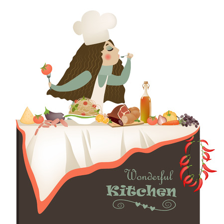 house wife: Vector illustration of woman cooking in the kitchen Illustration