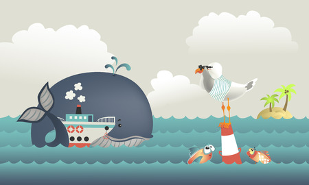 steamship: Whale,steamship and seagull in blue sea. Illustration
