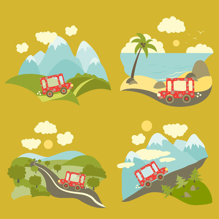 Set of vector flat style summer vacation trip Vector
