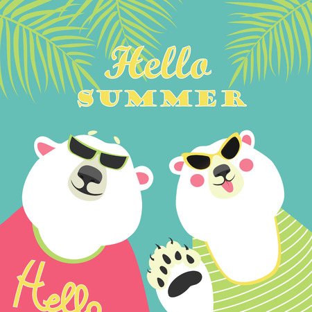 Cute couple of polar bears. Hello summer. Vector