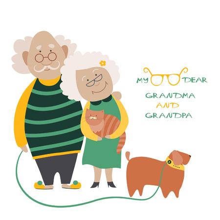 Illustratie die een ouder echtpaar met hun hond