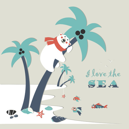 Cute polar bear climbed a palm tree. Vector illustration Vector