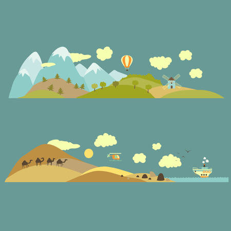 Landscapes from mountains to plains and from desert to sea Vector illustration Illustration