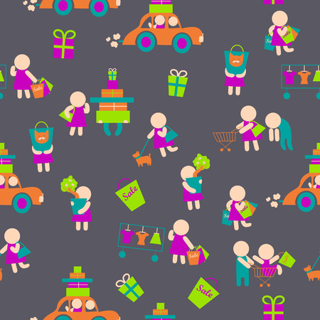 Seamless vector background with shopping people icons Vector