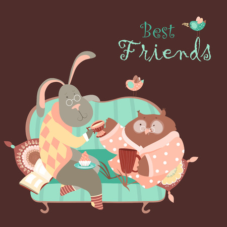 brown hare: Cute rabbit and owl drink coffee on the couch. Vector illustration