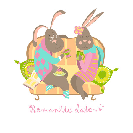 Cute bunnies in love. Vector isolated illustration Vector