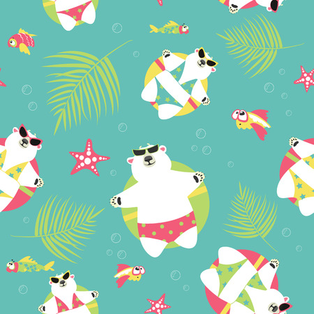 Seamless vector background with polar bears swimming with rubber ring
