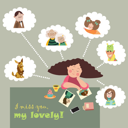 miss: Girl thinks about her relatives. Vector illustration