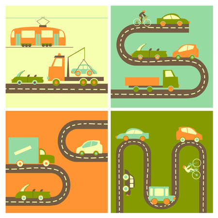 Different cars on the highway in flat style.Vector icons Vector