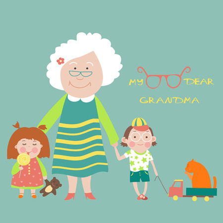 Grandmother with grandson and granddaughter. Vector Illustration
