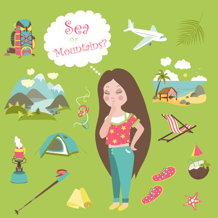 travel burner: Girl thinks where to go on the sea or mountains. Vector flat illustration