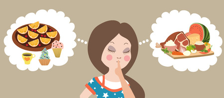 contemplate: Healthy or junk food choice. Beautiful woman thinking. Vector illustration.