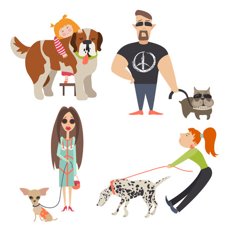 sniff: Cute dogs with their owners. Vector flat illustration