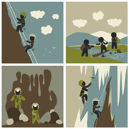 alpinism: Set of vector flat style outdoor leisure pictures. Speleology, mountaineering,rock climbing and mountain hiking.