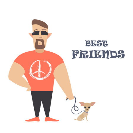 Funny dog with owner. Vector flat illustration Illustration