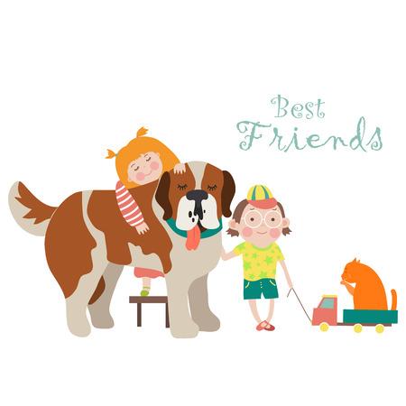 Little girl and boy hugging dog. Vector flat illustration