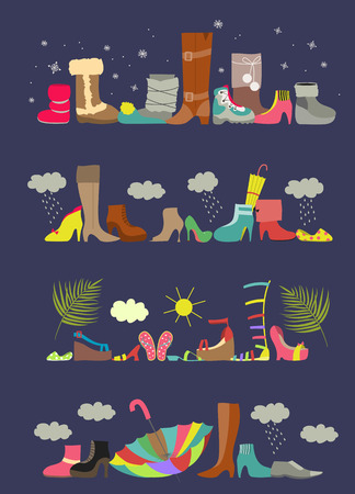 high heeled: Collection of various shoes. Four seasons. Vector illustration