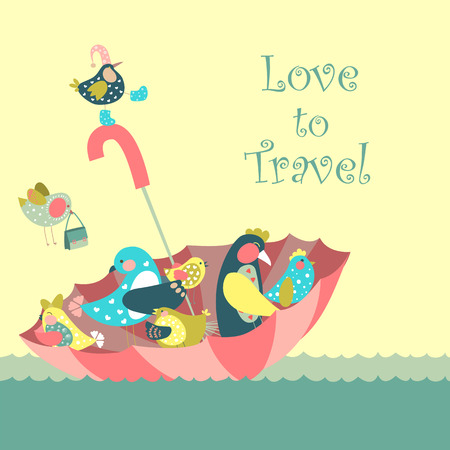 adventure story: Cute birds floating on umbrella in the sea.Vector illustration