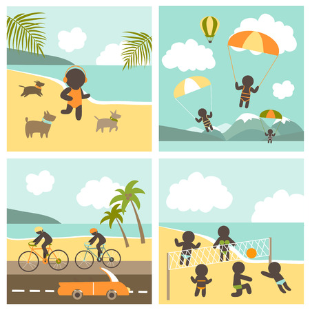 beach volleyball: Set icon sport people on the sea. Vector illustration