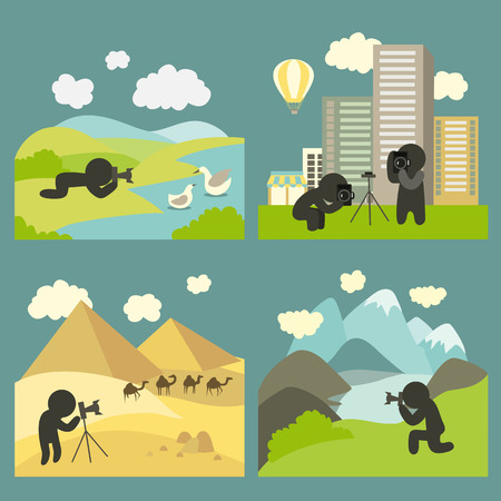 Photographer makes some landmarks shots at variety of travel location. Set of vector icons Illustration